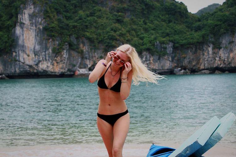 Beach Beach Life Sand Smile Sunglasses Looking Down Black Bikini Halong Ha Long Bay Vietnam Blonde Blonde Girl Blonde Hair Sea