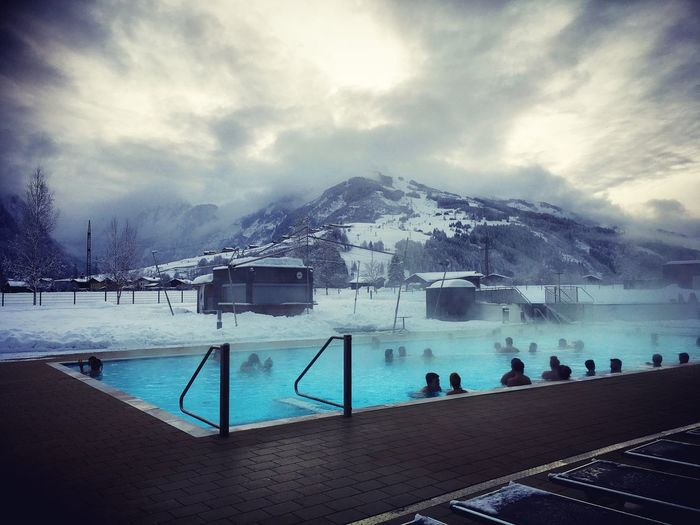 Tauernspa Kaprun Austria Wintersport Shades Of Winter Weather Cold Temperature Snow Winter Mountain Water Swimming Pool Sky Cloud - Sky Beauty In Nature