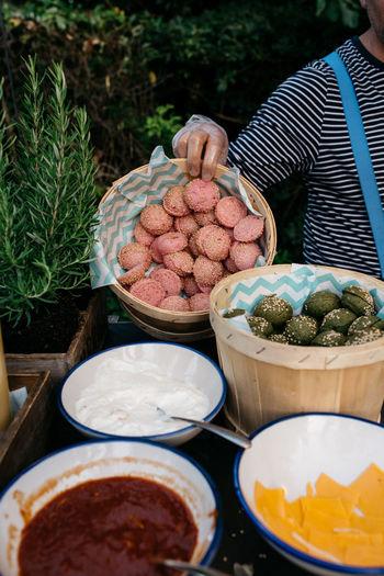 Full frame shot of food on market stall