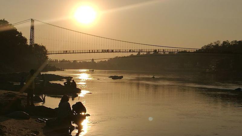 Sunset Reflection Water Sunlight Travel Destinations India Ganges River Travel Landscape Rishikesh Bridge LaxmanJhula EyeEmNewHere