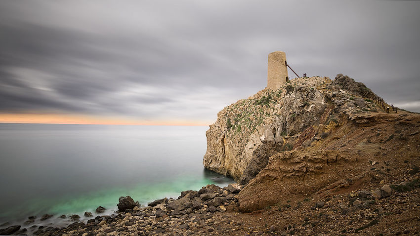 Almería Beauty In Nature Cloud - Sky Horizon Over Water Napatu Nature No People Outdoors Rock - Object Scenics Sea Sky Torre Del Pirulico Tranquil Scene Tranquility Water