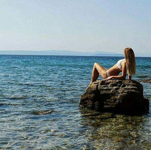 ☀🌊🌸💦Sea Water Women Sitting Vacations Summer Day Horizon Over Water Croatia Croatian Sea Summer Breezee Relaxation Mermaid Hotday Blue Sea... White Sand Tanned Toned Bodies