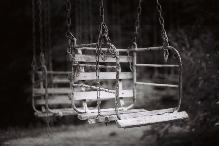 Pentax Filmcamera Filmisnotdead Film Photography Film Swing Absence Selective Focus Outdoor Play Equipment Empty Nature Close-up Cage Chain Rope Old Abandoned