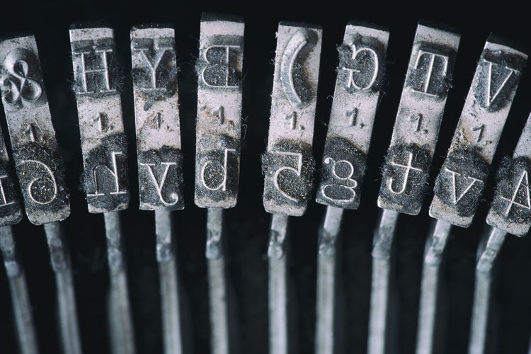 Close-up of letters on typewriter