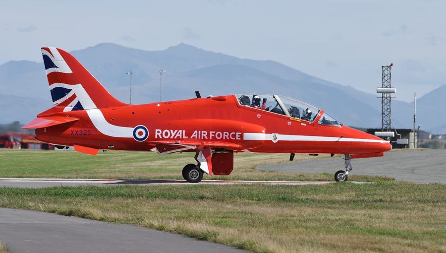 Hawk T1 XX323 RAFAT departing RAF Valley on 9 August 2018 after maintenance Hawk T1 RAF Valley XX323 Air Vehicle Airplane Airport Day Military Outdoors Plane Rafat Red Arrows