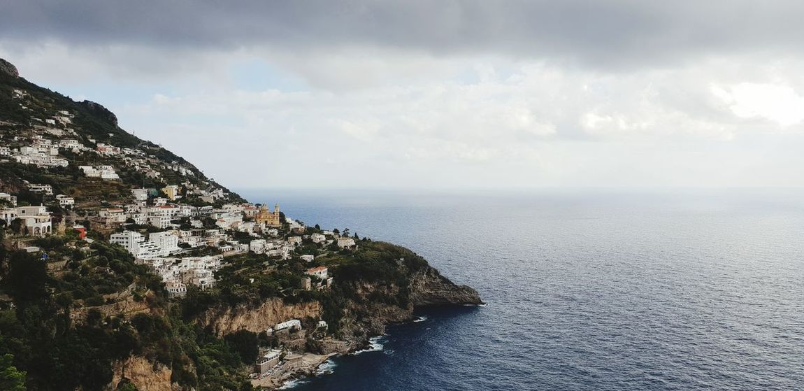 Amalfi coastline Water Sea Beach Cliff Rock - Object Summer Mountain Sky Horizon Over Water Landscape Seascape Atmospheric Mood Dramatic Sky Rocky Coastline Thunderstorm Moody Sky Coastline Dramatic Landscape Coastal Feature Cloudscape