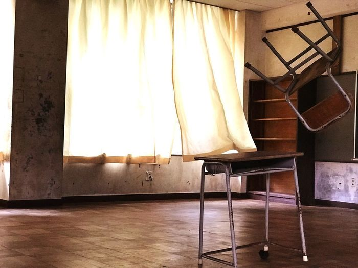 school at oshima Chair Furnitures Desk Oshima No People School Curtain Art Built Structure Flooring Empty Wall