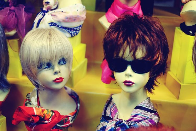 Super Retro Wigs Heads Shop Window