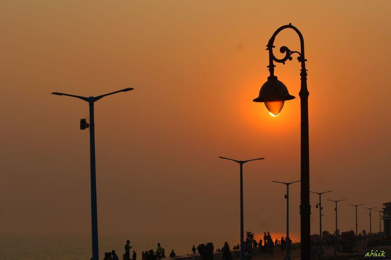 Sunset Outdoors Street Light Canon_official Canonphotography Canon1200d Canonofficial Nature Travelphotography Travel Seabeach Sea And Sky Digha