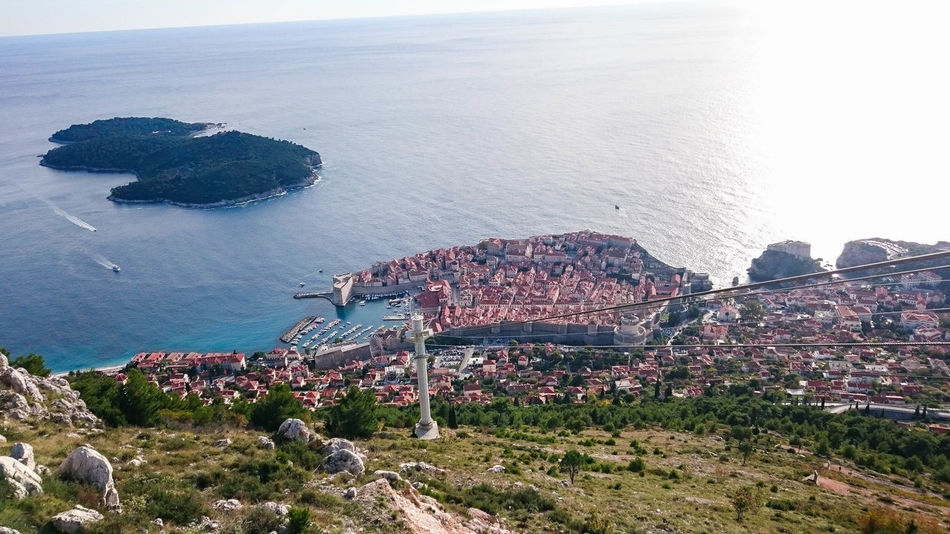 Cable Car City Panorama Clear Sky Dubrovnik, Croatia From Top Of A Mountain Sea Small Island
