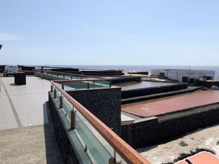 Sky Water Clear Sky Nature Day Architecture Built Structure Sunlight Blue Copy Space No People Sea Outdoors Horizon Over Water Horizon High Angle View Building Exterior Roof Railing Salt Flat Salzgewinnungsanlage Trockenbecken La Palma, Canarias
