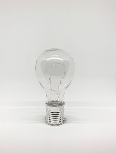 White Background Studio Shot Still Life Single Object Light Bulb No People Electricity  Close-up Filament Indoors  Fragility Day