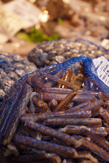 Seafood in net at market for sale