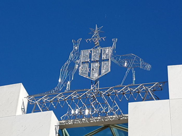 EyeEm Selects Blue Outdoors Clear Sky Emblem  Australian Parliament Building Australian Parliament Parliament House Canberra No People Emblems Australia Day Sky Canberra Parliament House Clear Sky Close-up Simple Uncluttered Government Government Buildings Communication