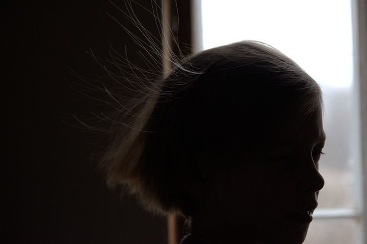 Electricity Hair Static Hair Boy Elementary Age Hair Window Close-up Children Thoughtful HEAD Profile Capture Tomorrow