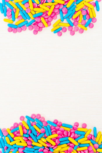 Multi Colored Large Group Of Objects Studio Shot Pill Dose Indoors  Choice Capsule Variation Medicine Healthcare And Medicine White Background Close-up Abundance Sweet Food And Drink Copy Space No People Sweet Food Excess