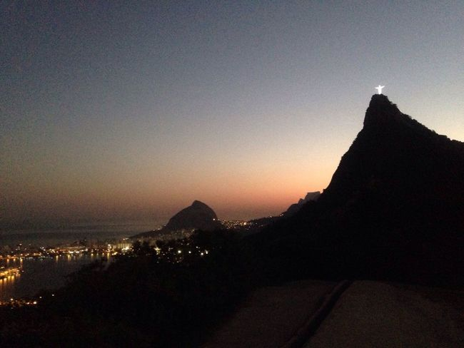 Sunset Silhouette Mountain Scenics Travel Destinations Tranquility Nature No Edit/no Filter Outdoors No People Beauty In Nature Tranquil Scene Architecture Built Structure Clear Sky Sky Sun Day Cristoredentor Mirante Dona Marta Corcovado National Park Corcovado Hill Corcovado