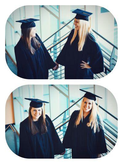 Young Women Headwear Working Portrait Headshot Friendship Women Front View Posing Pretty Friend Cap Graduation Gown