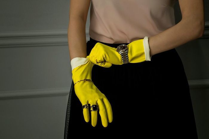 One Woman Only One Person Midsection Yellow Indoors  Human Hand Human Body Part Gloves Rubber Gloves Jewels Conceptual Photography  EyeEm Gallery EyeEmBestPics Woman Power Multitasking Contrasts No Face BYOPaper! Paint The Town Yellow
