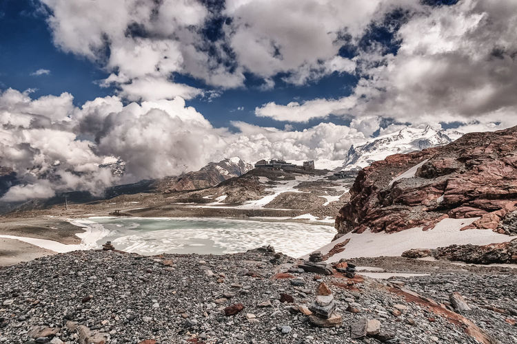 Scenic view of landscape and clouds during winter