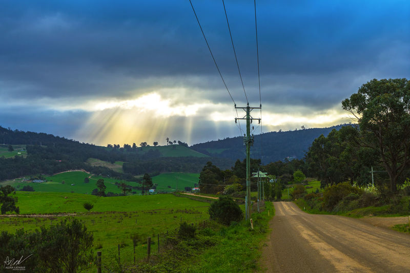 Agriculture Mountain Cloud - Sky Rural Scene Landscape Nature Outdoors No People Tree Sky Rice Paddy Beauty In Nature Day Cold Temperature Freshness Tasmania Sonya7II Hobart Countryside Country Power Line  Green Grass