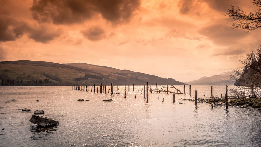 Water Sky Mountain Cloud - Sky Beauty In Nature Scenics - Nature Tranquility Sunset Tranquil Scene Nature No People Loch Tay Dalerb Kenmore Scotland Landscape Long Exposure