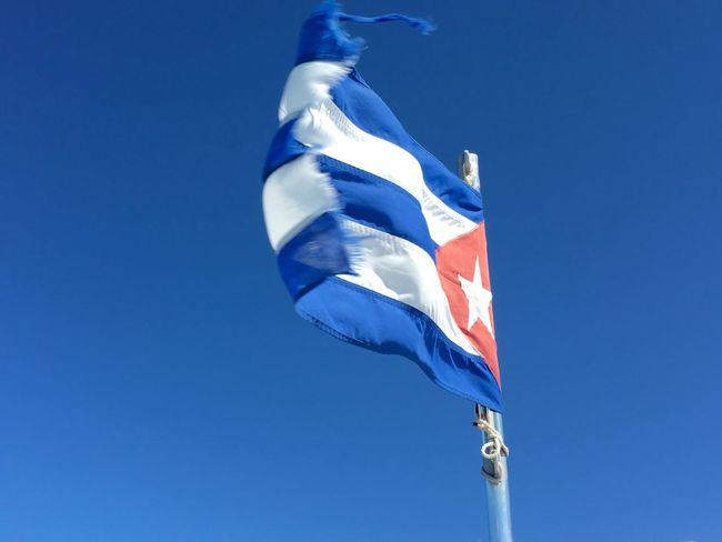Cuba Cuba 2015 Flag Flags Flag In The Wind Lookingup Blue Sky Cuban Flag
