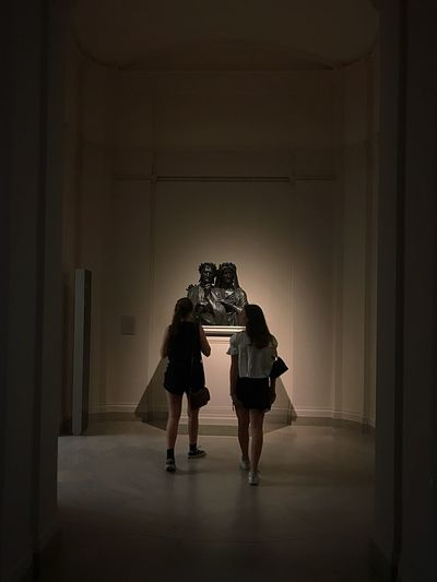 Lightning Light And Shadow Walking Artistic Aesthetics Women Girls Art Museum Of Art Museum Of Modern Art Museum Sculpture Full Length Indoors  Adult Two People Architecture People Women Real People Rear View Unrecognizable Person Walking Togetherness