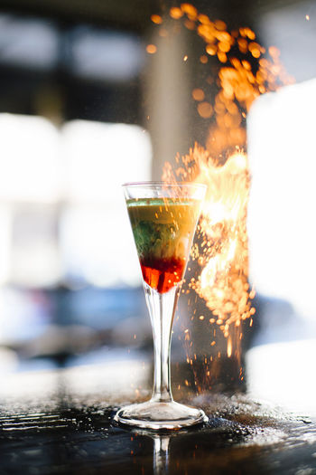 Fire By Drink On Bar Counter