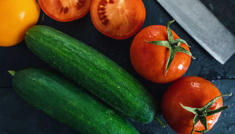 Close-up Cucumber Food Food And Drink Freshness Green Color Healthy Eating High Angle View Indoors  No People Tomato Vegetable