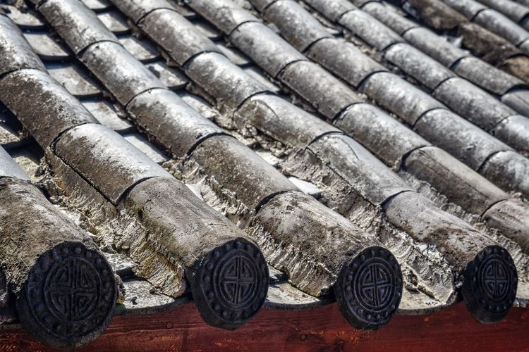 Roof Backgrounds Chinese Close-up Day Full Frame In A Row Indoors  No People Repetition Repetitive Roof Tile Wood - Material