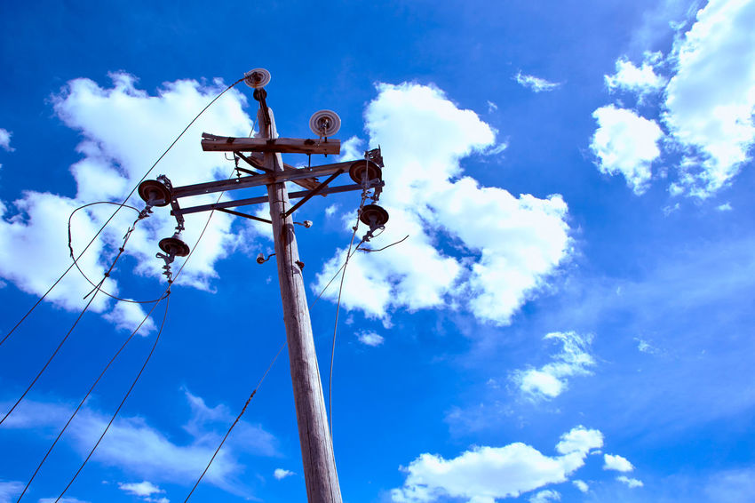 Blue Cable Cloud - Sky Day Electric Electricity  Low Angle View Nature No People Outdoors Pole Power Line  Sky Technology Utility Pole Wire