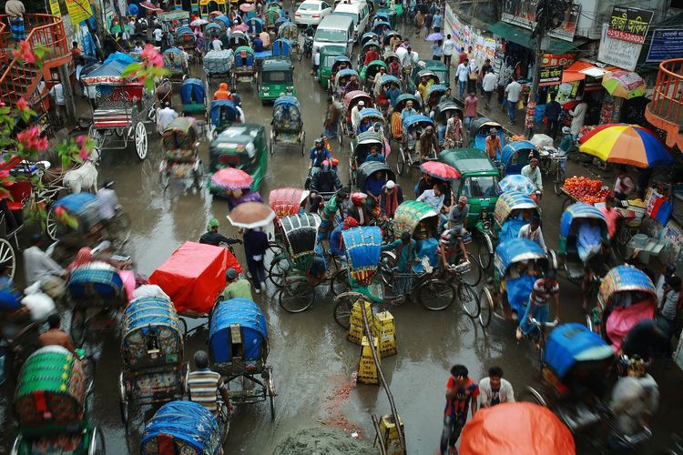 High Angle View Of Crowded Street In City