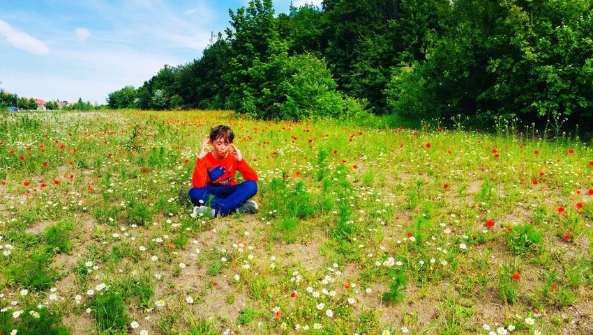Outdoors Flower Power Taking Photos Check This Out Childhood Hello World Plant Real People One Person Leisure Activity Field Child Lifestyles Nature