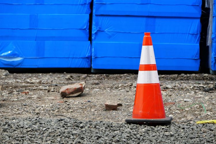 Traffic cone on construction site