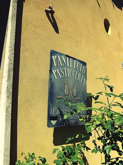 Italy 🇮🇹 Toscana Sign Board Sign On Wall Metal Sign Text Outdoors Day Yellow Built Structure Architecture No People Plant Building Exterior Close-up Nature High Angle View Message Food And Drink Art Is Everywhere