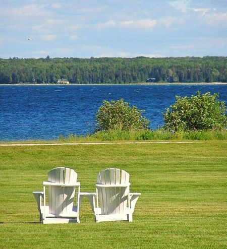 Adirondack Chairs Pair Peaceful Calm Lake Lake View Vacation Summer Sunny Sunny Day Island Pure Michigan Up North Scenic
