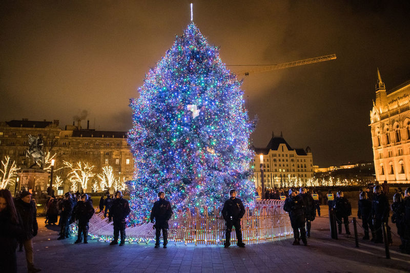 Protest Hungary Protesters Riot Riot Police Architecture Illuminated Built Structure Building Exterior Celebration Decoration Night Large Group Of People Crowd Christmas Holiday christmas tree Group Of People Real People City Tourism Travel Destinations Travel Celebration Event Outdoors Christmas Ornament Streetwise Photography The Art Of Street Photography
