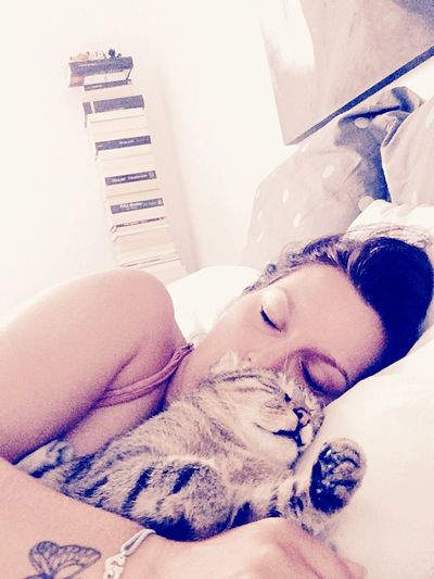 Sleeping kitty and sleeping beauty 💤💤🐯😴🌸 Sleeping Cat Cute Enjoying Life Relaxing Good Morning Wakeup Hello World Portrait