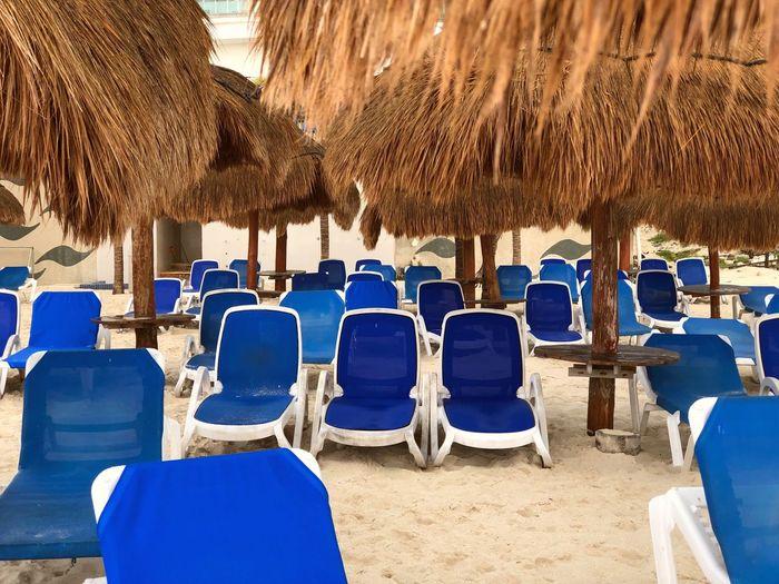 Empty seats at beach