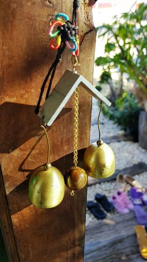 Door bells with evening sunlight Brass Bell Brass Bells Door Bell Hanging Sunlight Sunlight And Shadow Wooden Door Blur Background Warm Colors Hanging No People Day Outdoors Shadow Close-up Tree