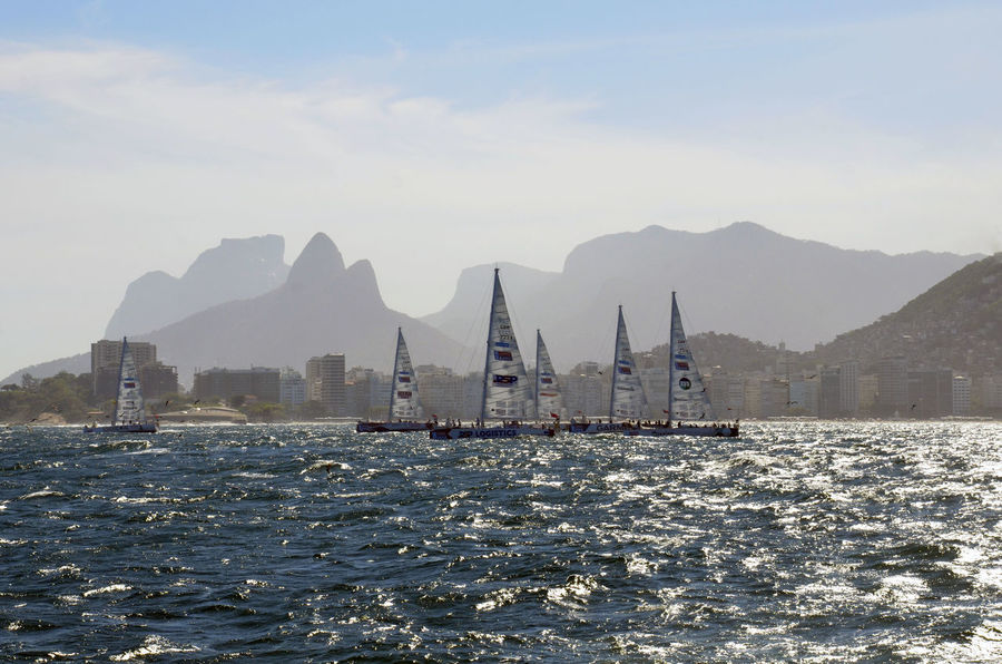 Alexandre Macieira Barco Beauty In Nature Boat Brasil Brazil Mode Of Transport Mountain Mountain Range Nature Regata Regatta Rio Rio De Janeiro Rippled Rock Formation Sailboat Sailing Ship Ships Tourism Travel Destinations Water Waterfront