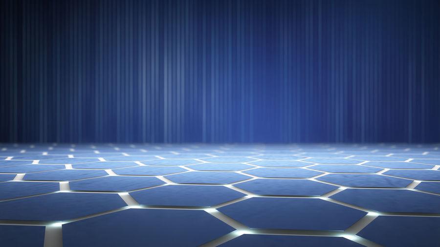 Digitally Generated Image Of Blue Hexagon Shape