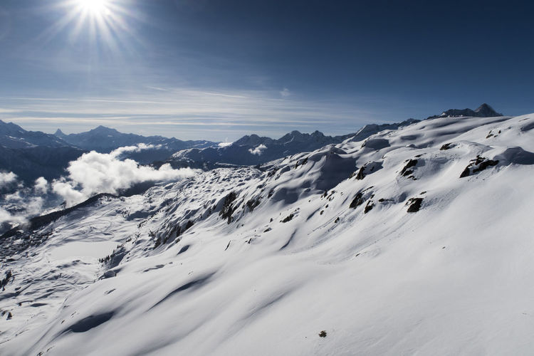 Beauty In Nature Cold Temperature Day Landscape Mountain Mountain Range Nature No People Outdoors Physical Geography Scenics Sky Snow Snowcapped Mountain Sunlight Tranquil Scene Tranquility Weather White Color Winter