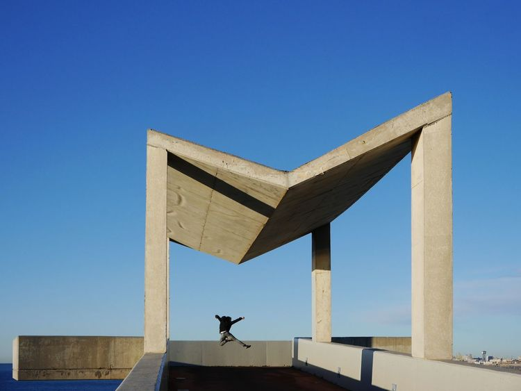 Jump Into the weekend... Marvin... Blue Sky Shape Outdoors Day Architecture Travel Destinations Barcelona Building Exterior Beton Pavilion Built Structure Silhouette