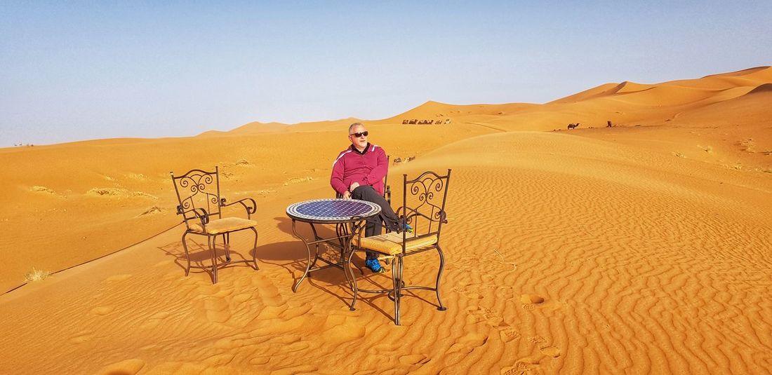 Sand Dune Desert Arid Climate Sand Sitting Full Length Summer Adventure Sky Landscape