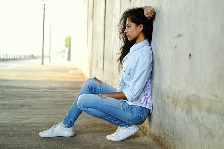 Modelphotography Model Pose Denimjeans Denim Shirt LEVIS™ Dancer Photography Sitting Young Adult One Person City Outdoors People One Young Woman Only