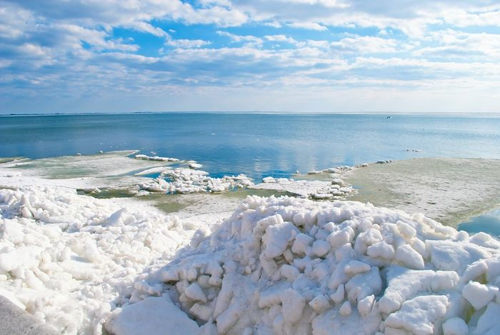 Sea View Ice Water Azov Sea Sunny Day Sea And Sky Blue Sky Cristal Clear Spring Into Spring