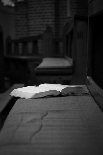 Bible Book Church Churchbenches Close-up Germany Hymns Indoors  Knowledge No People Nordhorn Page Praise Praise And Worship Praisethelord Religion Religion And Beliefs EyeEmNewHere Black And White Friday