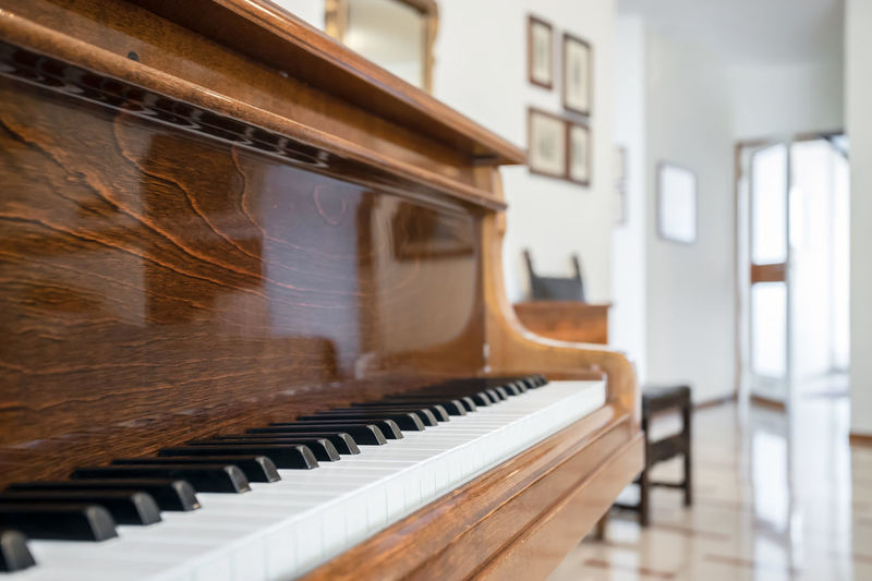 Close-up of piano keys at home